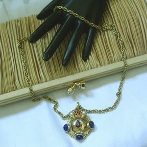 VINTAGE HIGH END JEWELED  GOLD PLATE NECKLACE